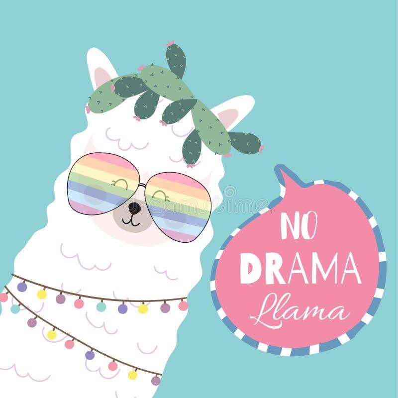 Blue pink hand drawn cute card with llama,glasses,heart.no drama llama. Blue pink hand drawn card with llama,glasses,heart.no drama llama stock illustration