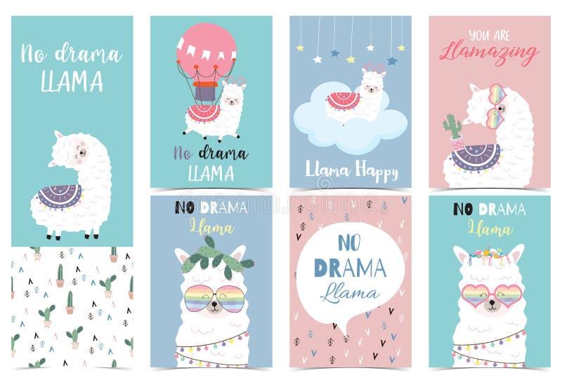Blue pink hand drawn cute card with llama,glasses,cactus and balloon.No drama llama,Llamazing vector illustration