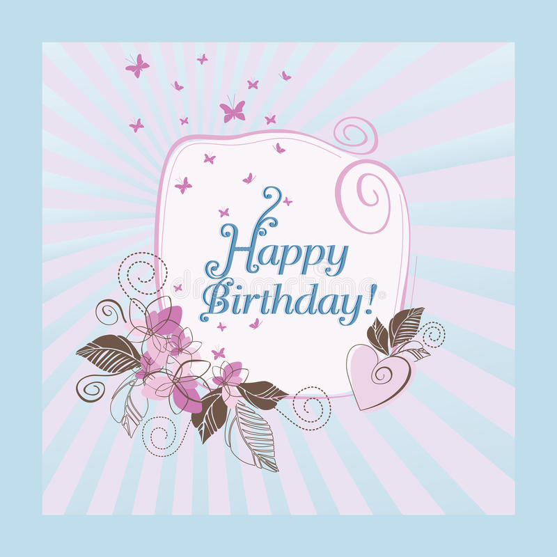 Blue and pink happy birthday card stock illustration