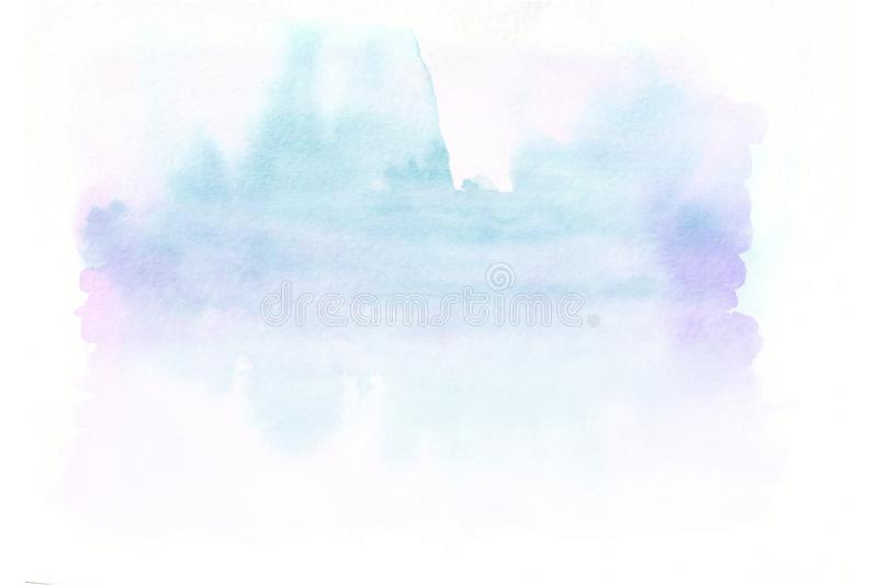 Blue and pink horizontal watercolor gradient hand drawn background. Bottom part is lighter than other sides of image.  royalty free stock images