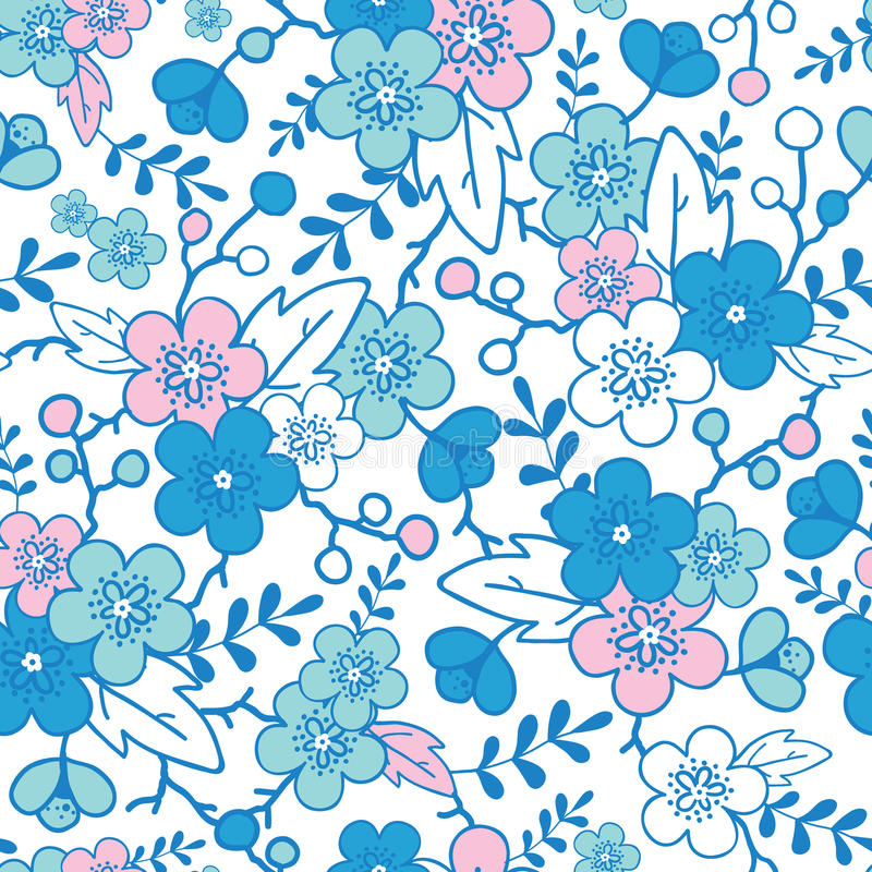 Blue And Pink Kimono Blossoms Seamless Pattern Royalty Free Stock Images