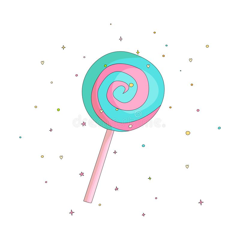 Blue and pink lollipop fun cartoon vector icon. Sweet lollypop cartooning illustration with decoration on white. Background. Cartoon candy on the stick icon stock illustration