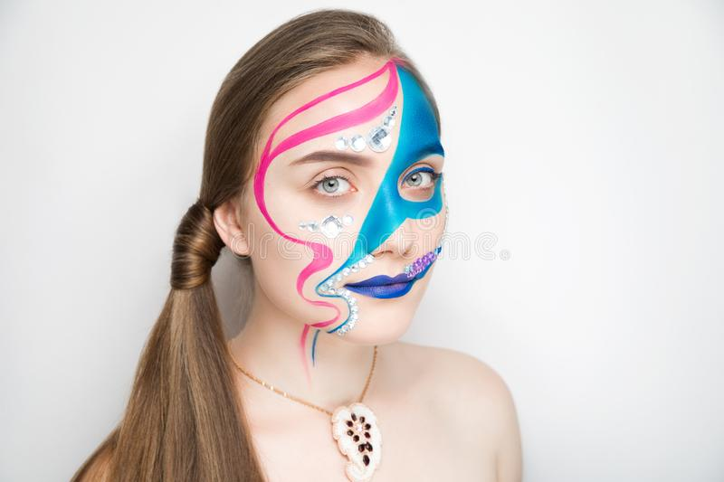 Blue pink make up royalty free stock images