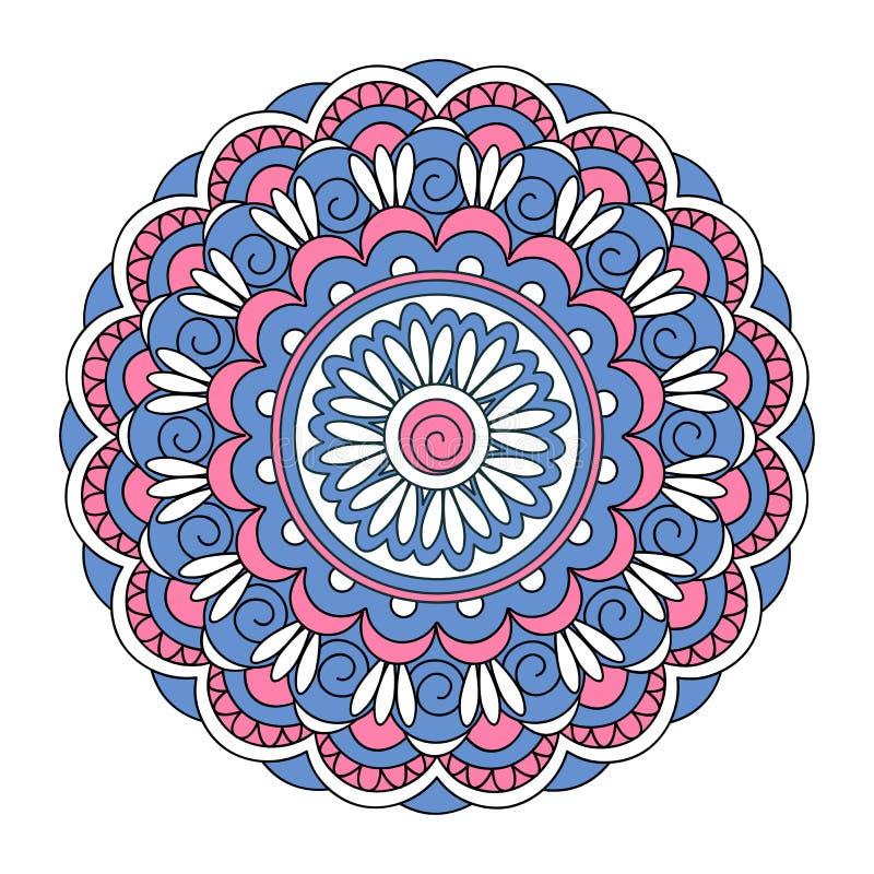 Blue-pink mandala on the white background royalty free illustration
