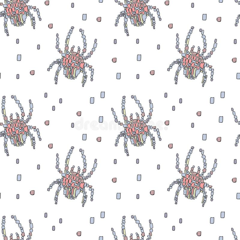 Blue and pink mosaic spiders on a white background. stock illustration