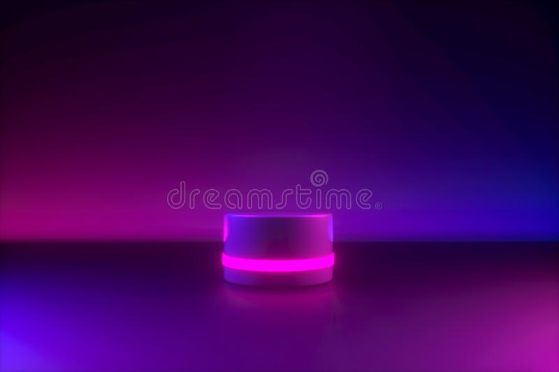 Blue pink neon light, empty postament. 80's retro style, fashion show stage, abstract background. Ultraviolet light. 3d rendering blocks business royalty free stock image