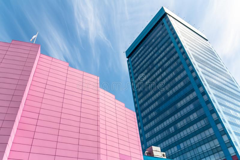 Blue and pink office building AvtoVAZ.  royalty free stock image