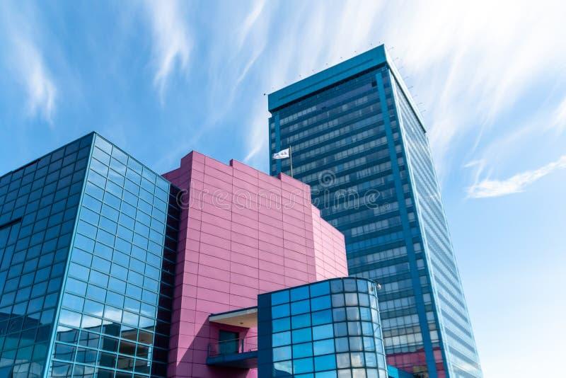 Blue and pink office building AvtoVAZ.  stock photo