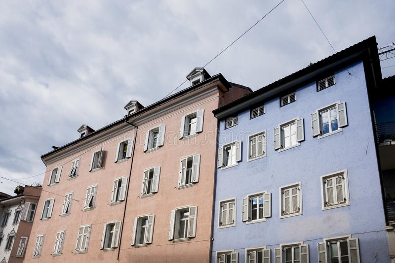 Colorful buildings in Bolzano, Italy stock image