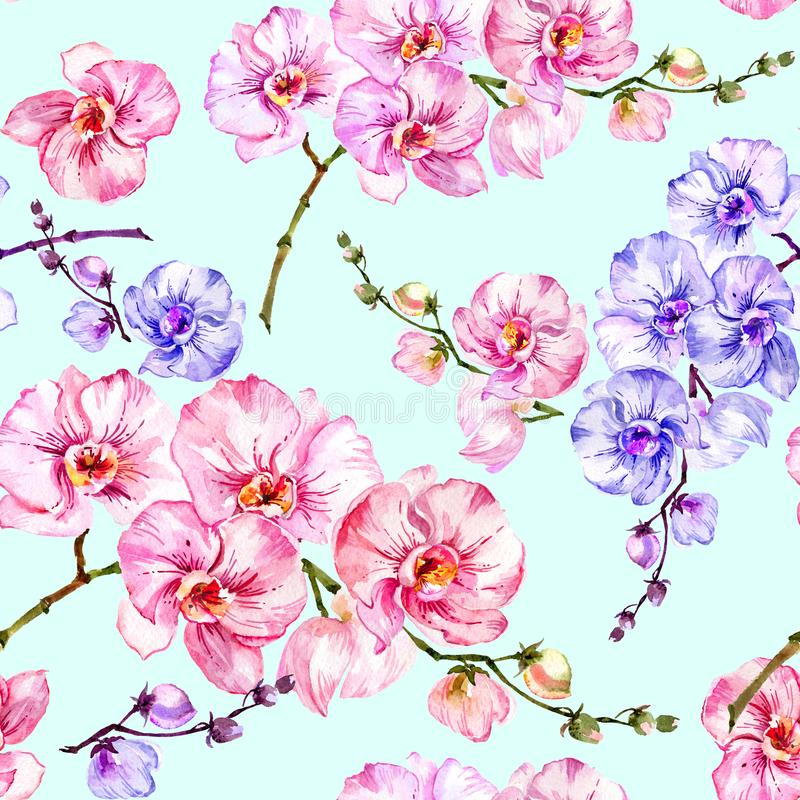 Blue and pink orchid flowers on light blue background. Seamless floral pattern. Watercolor painting. Hand drawn illustration. Can be used as a background, for royalty free illustration