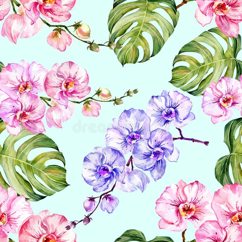 Blue and pink orchid flowers and monstera leaves on light blue background. Seamless floral pattern. Watercolor painting. vector illustration