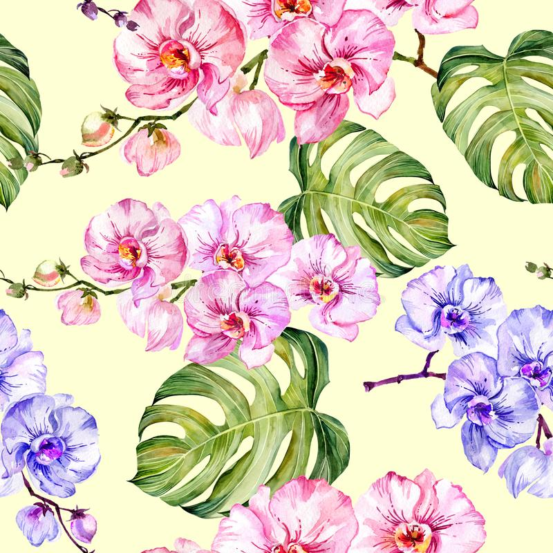 Blue and pink orchid flowers and monstera leaves on light yellow background. Seamless floral pattern. Watercolor painting. stock illustration