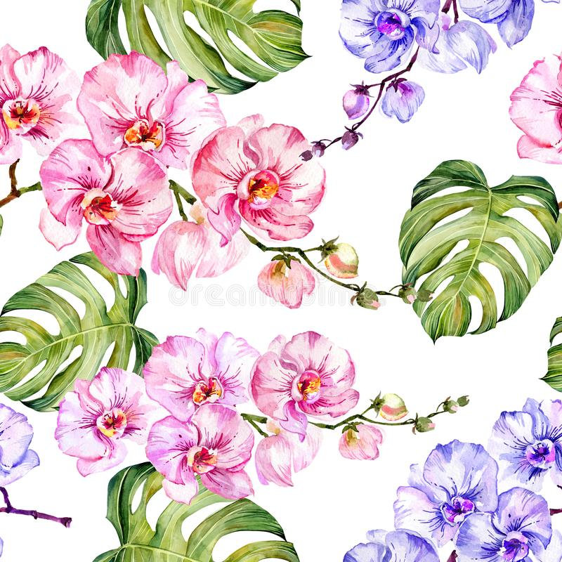 Blue and pink orchid flowers and monstera leaves on white background. Seamless floral pattern. Watercolor painting. Hand drawn illustration. Can be used as for royalty free illustration