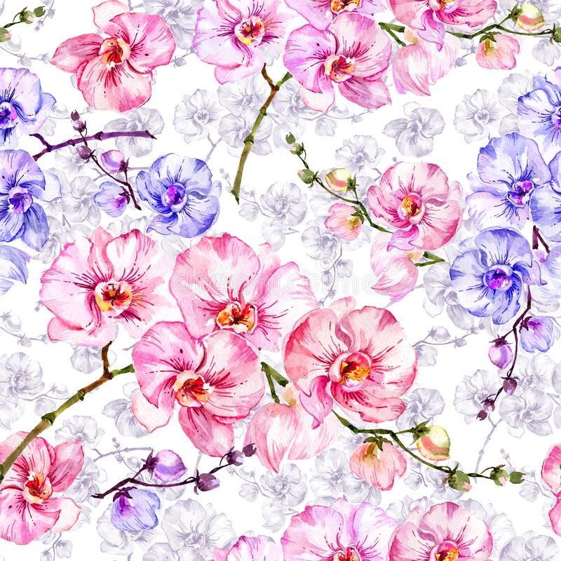 Blue and pink orchid flowers with outlines on white background. Seamless floral pattern. Watercolor painting. Hand drawn illustration. Can be used as a royalty free illustration