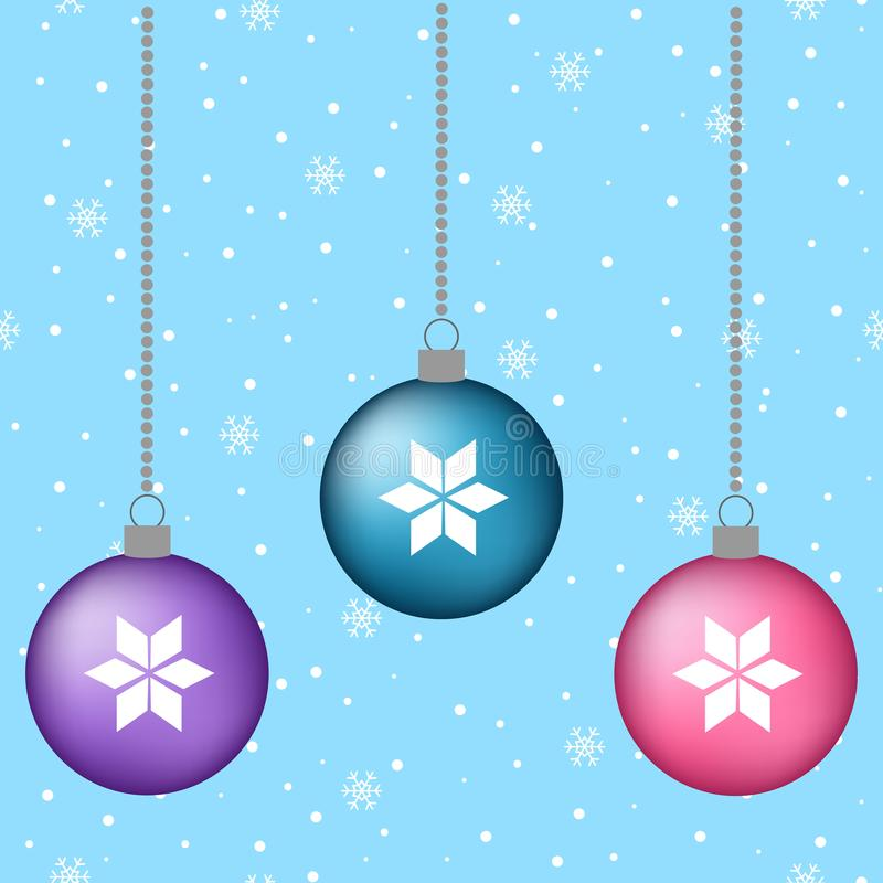 blue, pink, purple christmas balls decoration hanging winter background snow card vector vector illustration