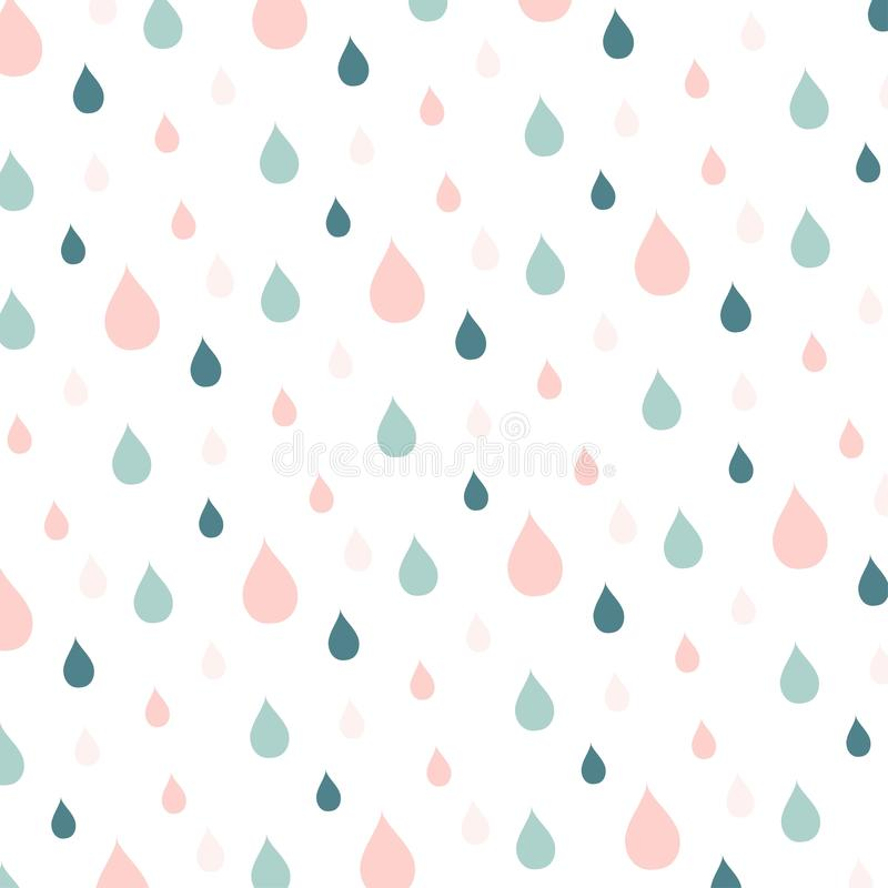 Blue and pink rain drops on white. Stock vector illustration royalty free illustration