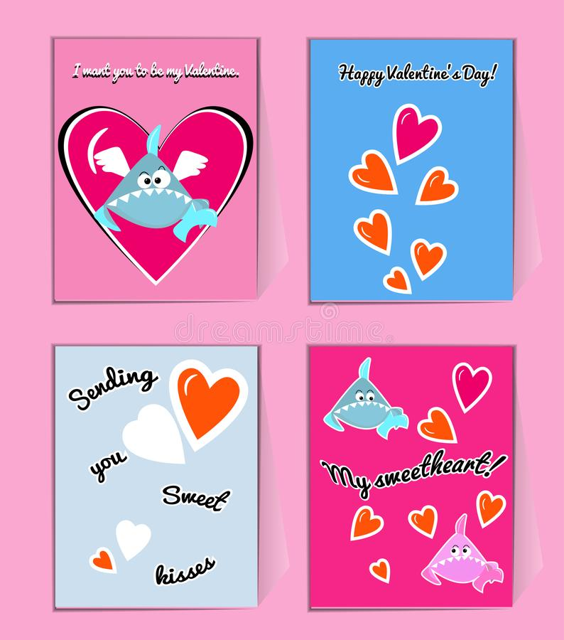 Blue and pink Sharks with hearts. Cute Valentine greeting card with wishes. You my Valentin vector illustration vector illustration