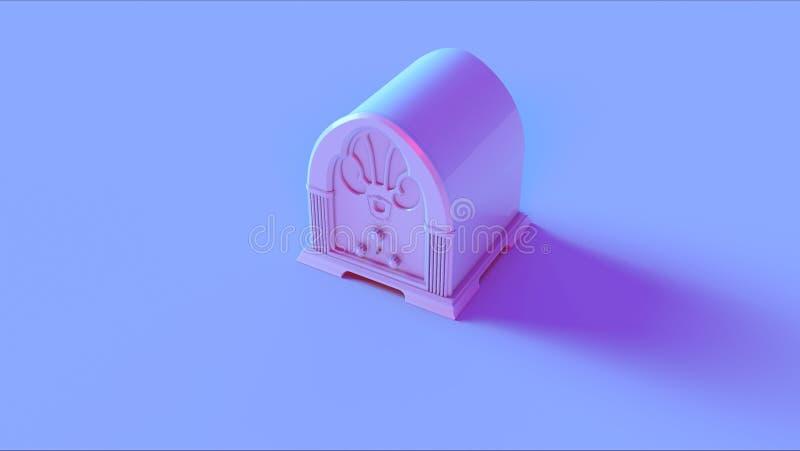 Blue Pink Vintage Radio. / 3d illustration / 3d rendering stock images