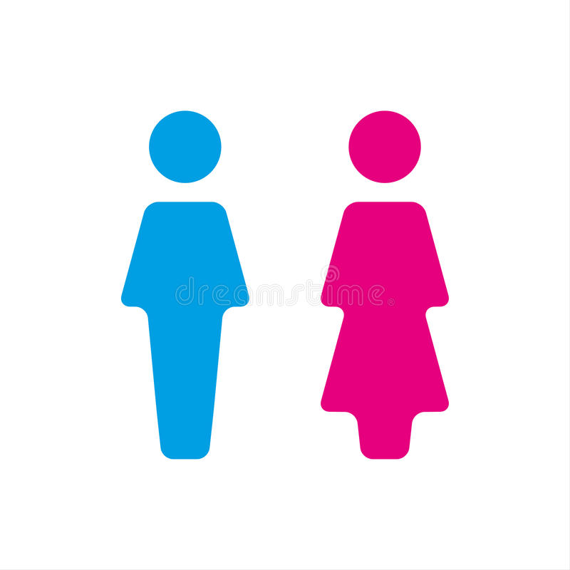 Blue And Pink Wc Icon Toilet Icon Men And Women Sign