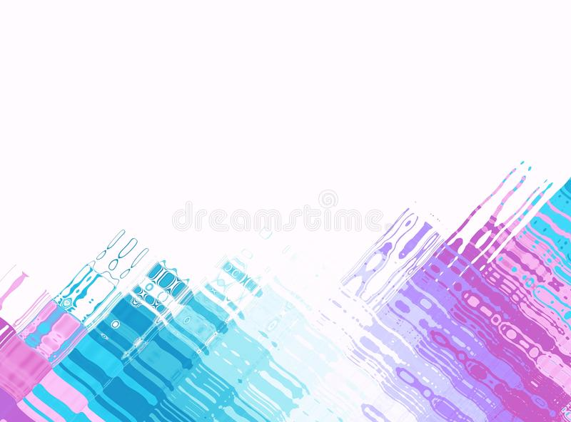 Blue pink white modern abstract fractal art. Background illustration with colorful perpendicular structures. Creative graphic temp stock illustration
