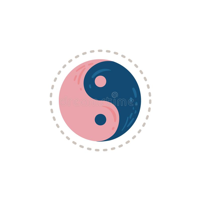 Blue and pink yin yang symbol isolated on white background stock illustration