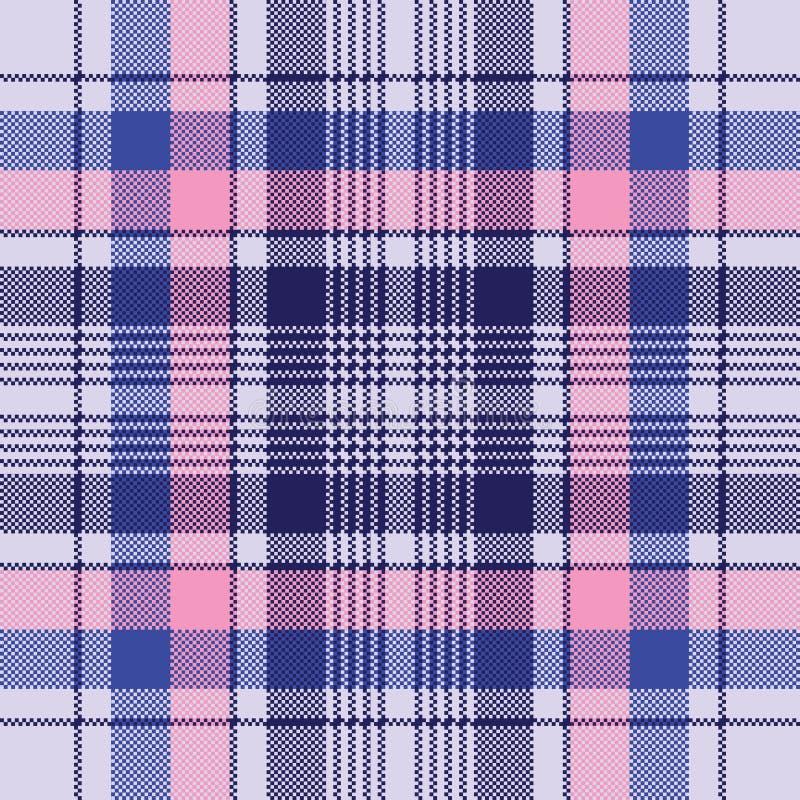 Blue pixel check plaid seamless pattern vector illustration