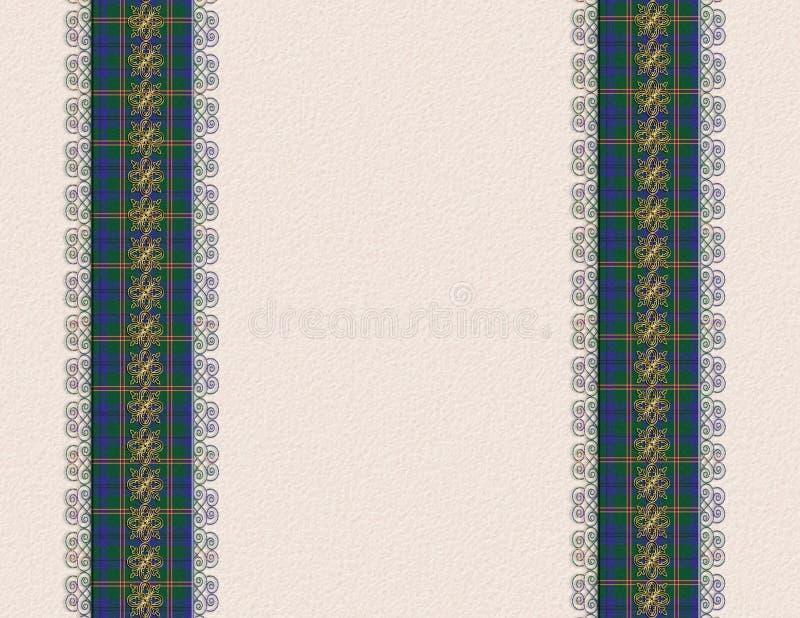 Blue plaid borders invitation stock photos