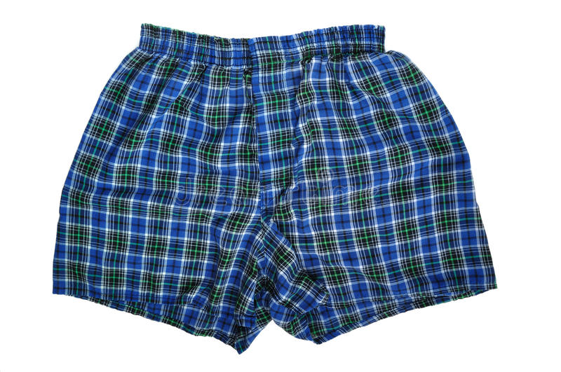 Blue Plaid Boxers. (Underwear) on a White Background royalty free stock images