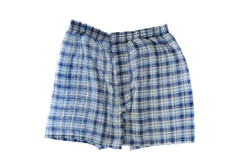 Blue Plaid Boxers. A pair of blue plaid boxer shorts isolated on white background. Wrinkled boxers stock photos