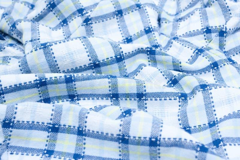 Blue Plaid fabric royalty free stock photo