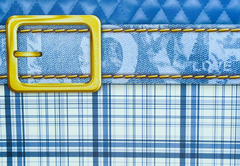 Blue plaid texture with golden belt abstract with love text. Artistic creative modern art. Blue stripes gold belt royalty free stock images