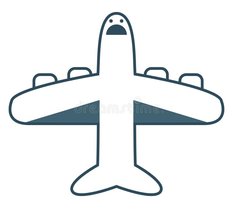 Emoji of the screaming plane at flight, vector or color illustration. The blue plane the powered flying vehicle with fixed wing has a cute little face with two royalty free illustration