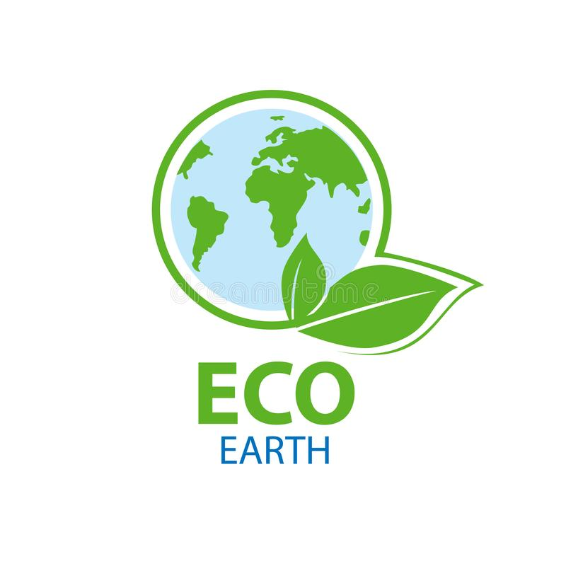Blue planet in circle a green leaf. Symbol of ecology with the t royalty free illustration
