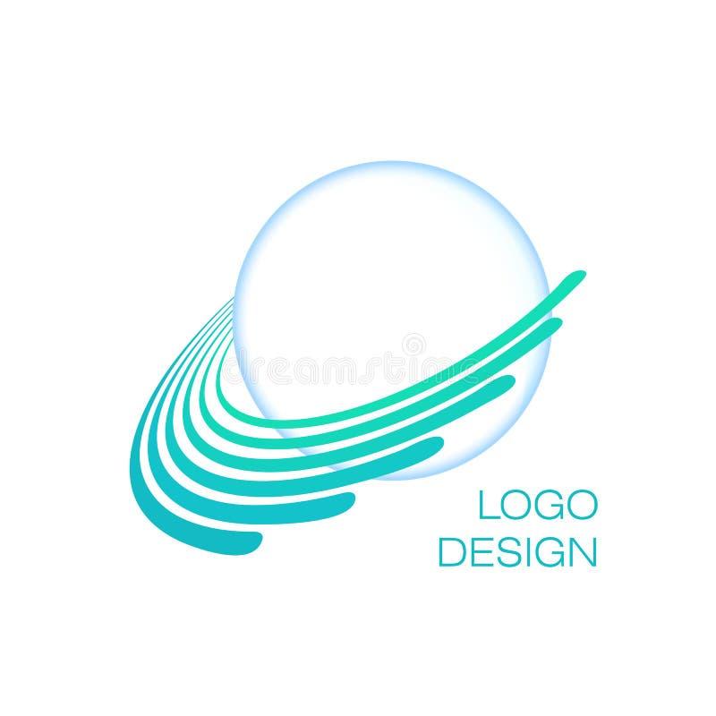 Blue planet. Creative globe logo concept. Uranus. Vector. Template royalty free illustration