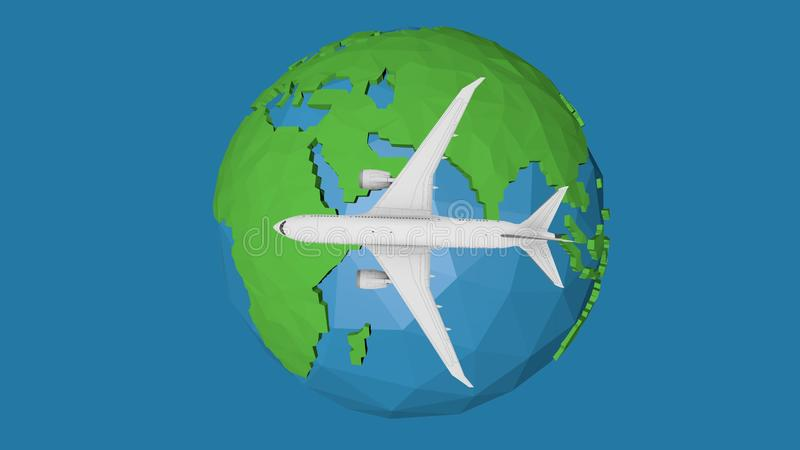 Blue planet earth concept travel by plane. 3d illustration royalty free illustration