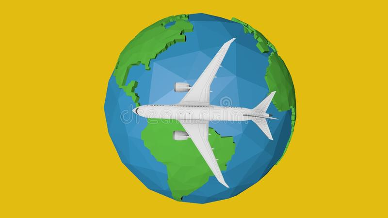 Blue planet earth concept travel by plane. 3d illustration stock illustration