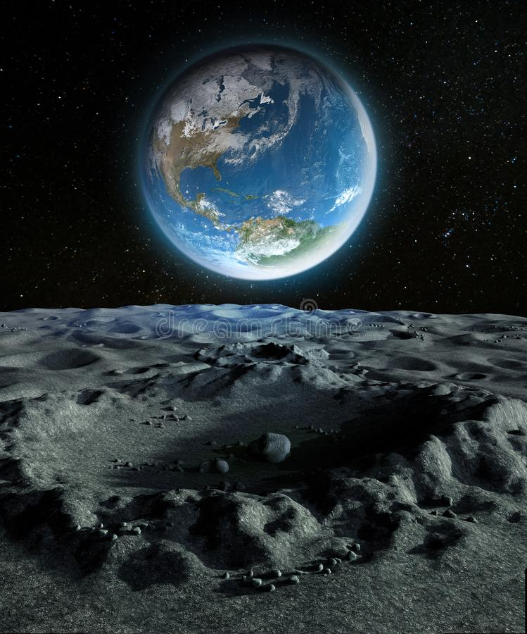 Blue Planet Earth from a Crater on the Moon`s Surface royalty free stock photo