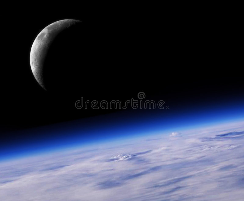 Blue Planet Earth And Crescent stock photography