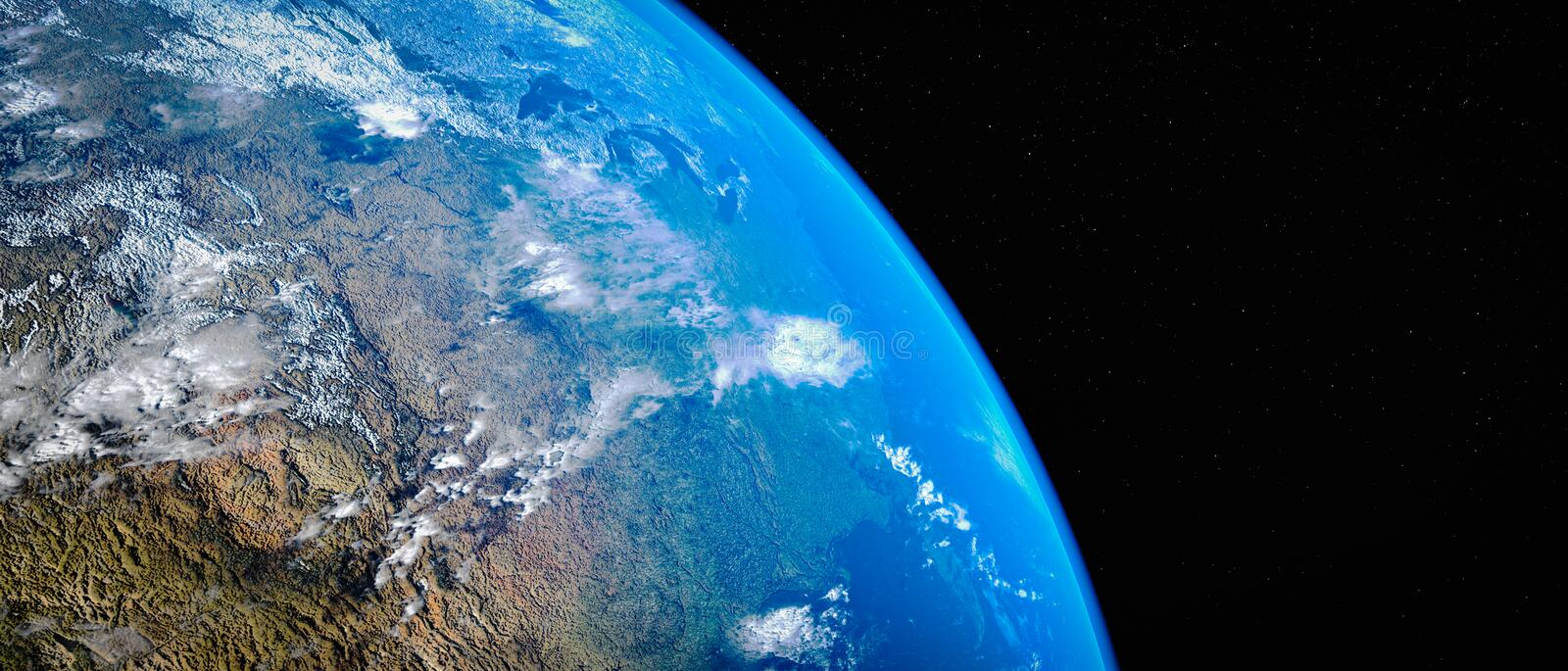 Blue planet earth 3d rendering.This image elements furnished by NASA vector illustration