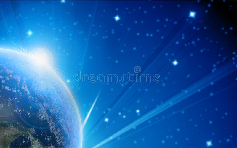 Blue planet earth in outer space royalty free illustration