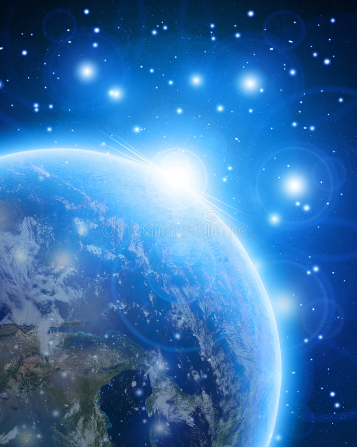 Blue planet earth in outer space stock illustration