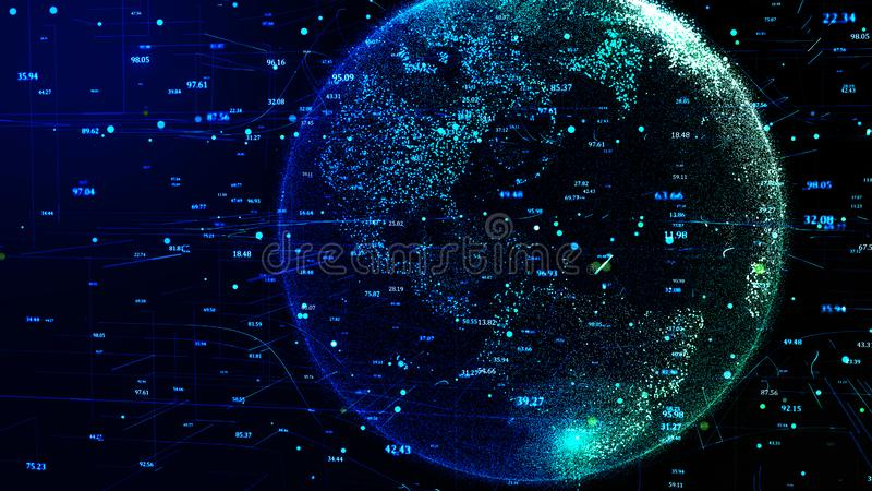 Blue Planet Earth rotating in global futuristic cyber network. 3D illustration of blue planet Earth in global futuristic cyber-network, connection lines around stock illustration