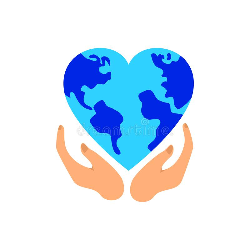 Blue planet earth in the shape of a heart on hand, planet and ecology protection concept, vector image. On a white background vector illustration