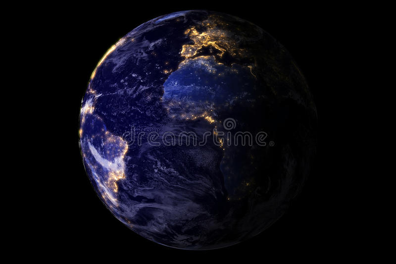Blue planet earth from space showing America and Africa at night with sparkle glitter city lights, USA, globe world isolated on bl vector illustration