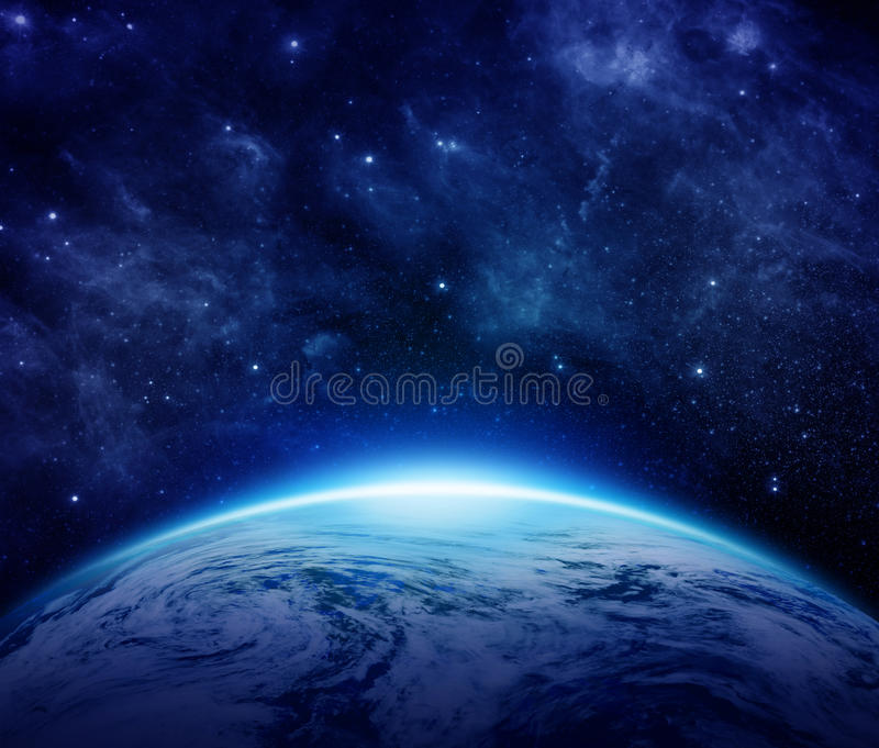 Blue Planet Earth, sun, stars, galaxies, nebulae, milky way in space can use for background. Global World with some clouds the dark sky with Place for Text vector illustration