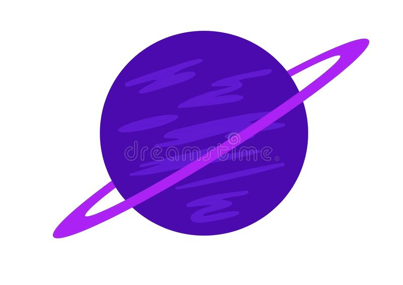 A blue planet with purple ring stock illustration