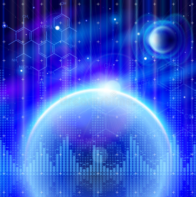 Blue Planets, Chemical Formulas, Digital Wave Royalty Free Stock Photography