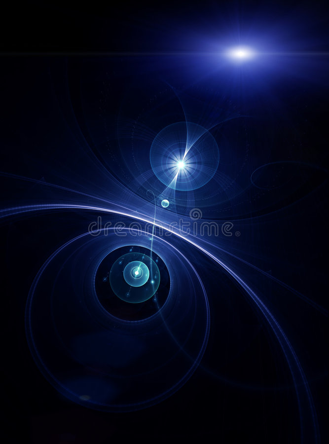 Blue planets, rays of light in space royalty free illustration