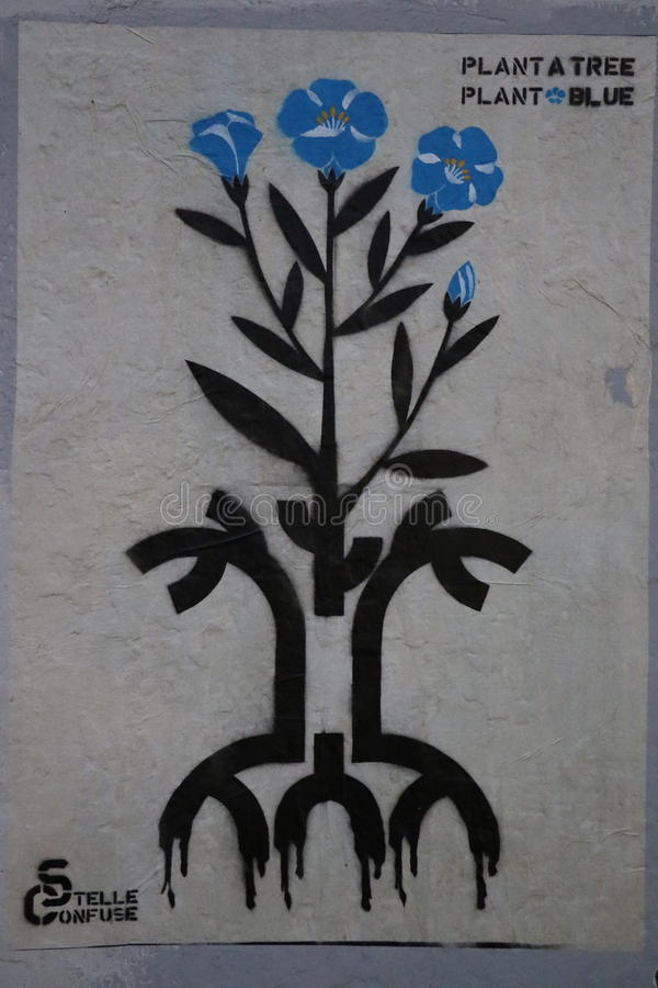 Blue plant graffiti royalty free stock images