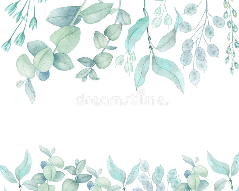 Blue plants border. Branches of eucalyptus and dried bouquets for decoration. Christmas, winter holidays, wedding. Invitations, planner decorative plant royalty free illustration